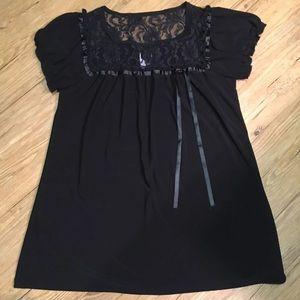 Black babydoll short sleeve tunic